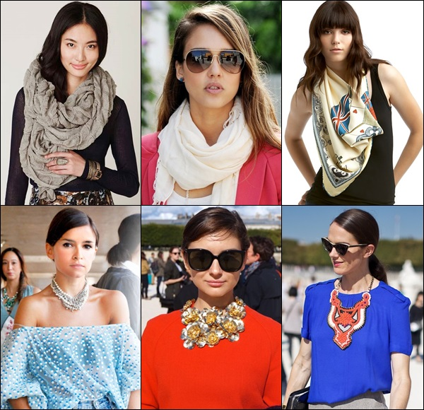 Abuse scarf or jewelry such as necklace to give a fuller effect on your neck
