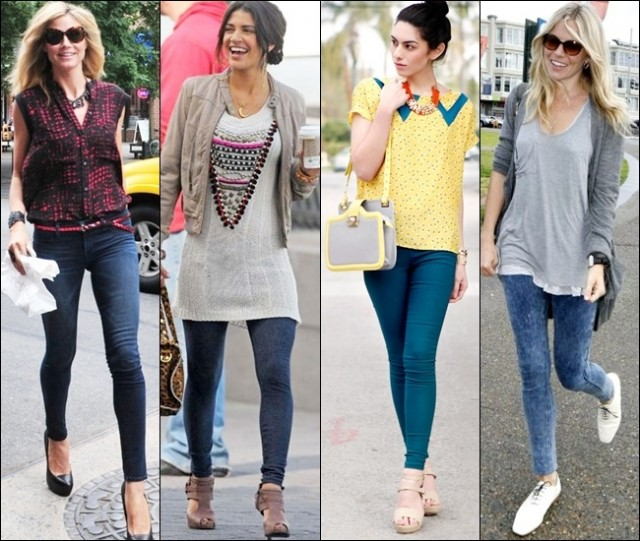 Denim leggings are great to reach elegant, casual looks, especially during summer, paired with layers and light tops
