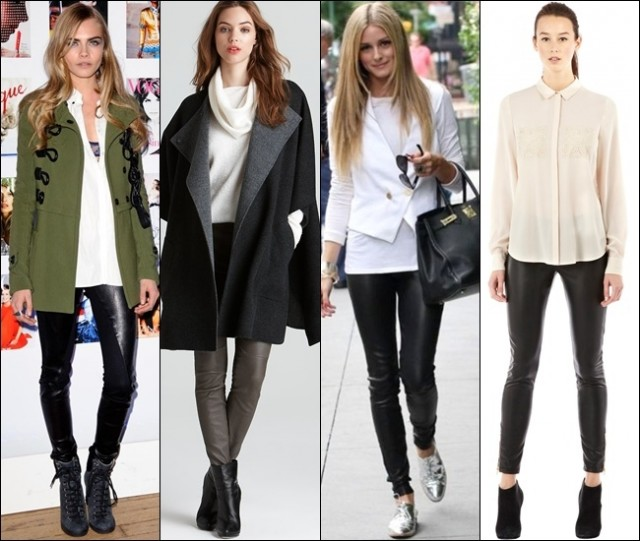 For more dramatic, classy, and elegant styles, leather leggings can be an option to choose