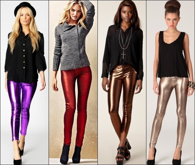 Leggings in metallic shades and fabrics are great to combine with darker or more natural shaded tops