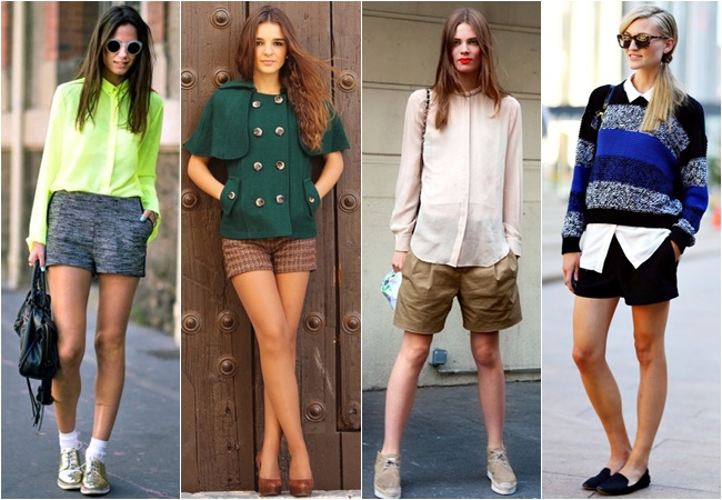 Shorts as college or school outfits