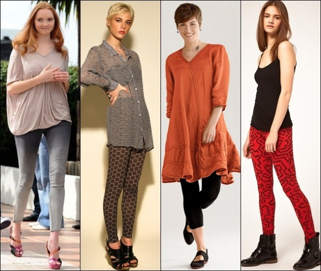 Leggings for summer in patterns or solid colors, paired with lighter tops and trapeze dress
