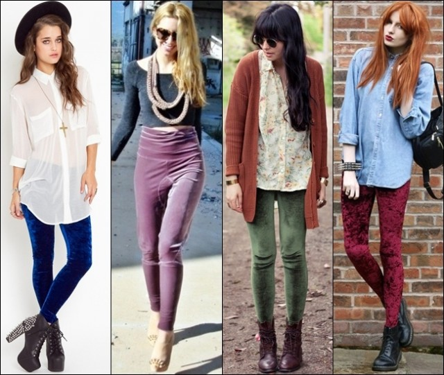 Leggings in velvet to achieve warmer chic rocky styles, great to combine with ankle-boots or heels