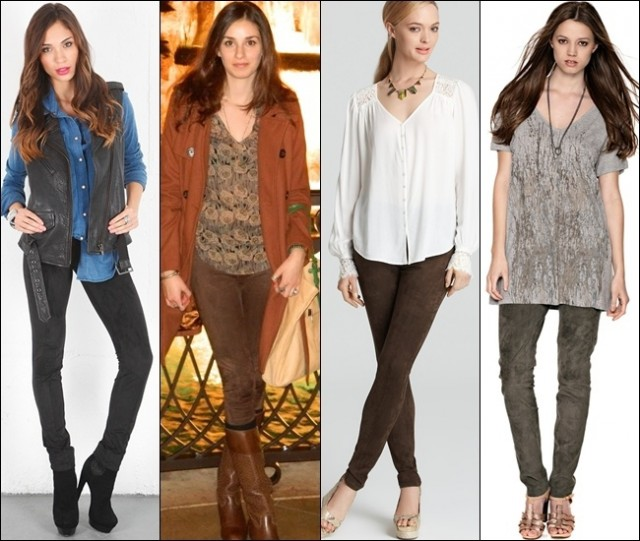Leggings made of suede are perfect to accentuate classy, elegant looks in much softer vibe
