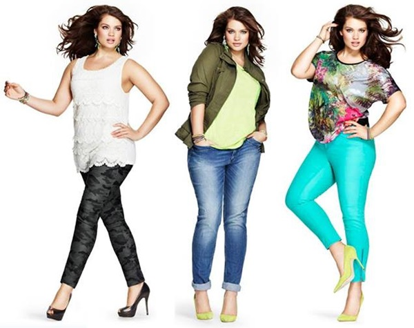Plus size fashion look with skinny pants or cigarette pants