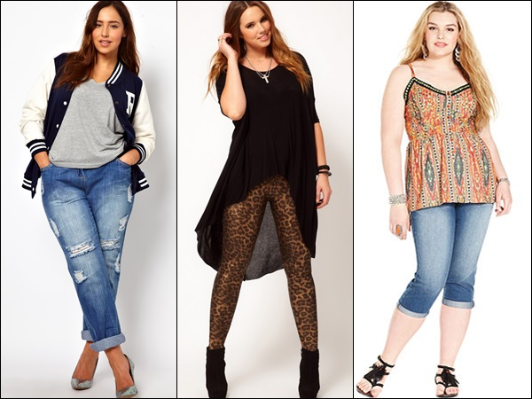 Plus size casual fashion looks with denim and tights or skinny pants