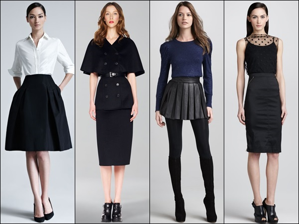 A-line skirt, pencil skirt, and mini skirt best suited for skinny women