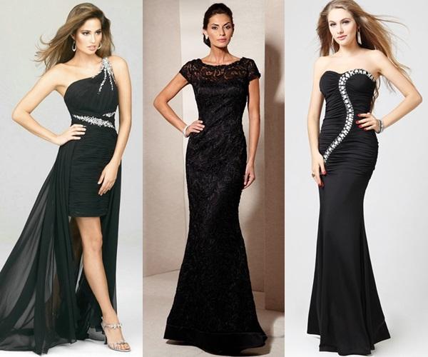 glamorous black gown to a wedding