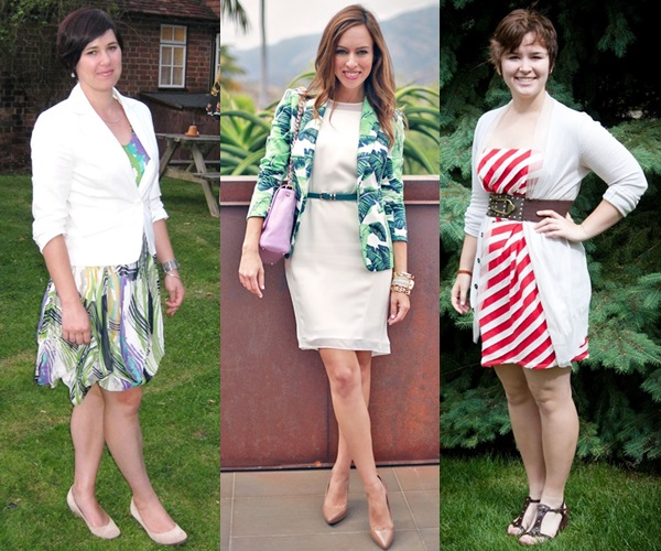 colorful dress with white cardigan or blazer