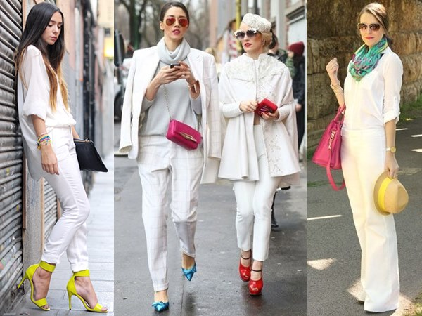 All White Fashion Look with A Little Pop of Color