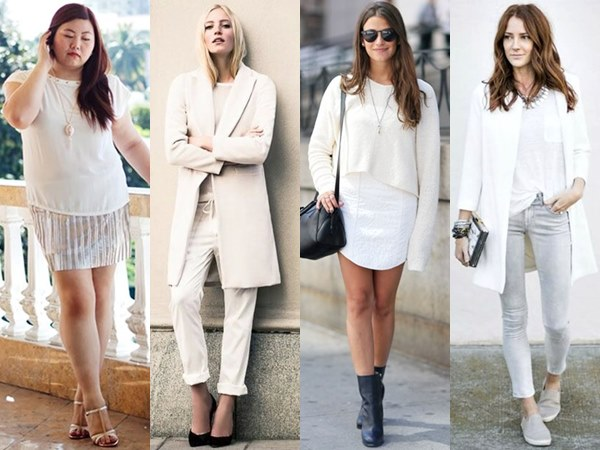 All White Fashion Look with Different Shades of White