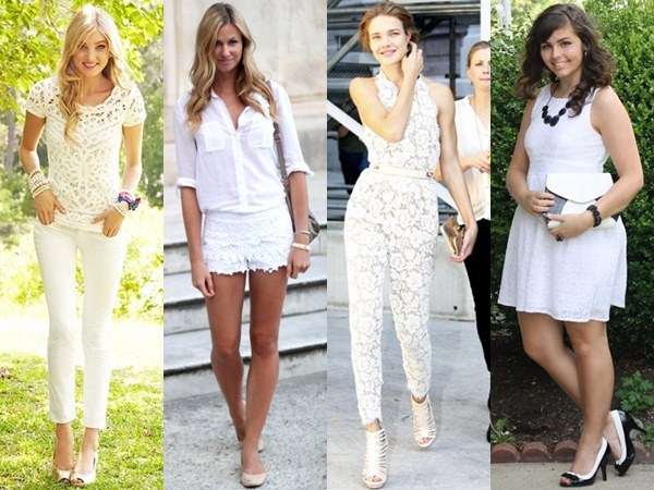 All White Outfit Fashion Looks with Lace