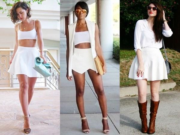 White on White Fashion with Mini Skirt