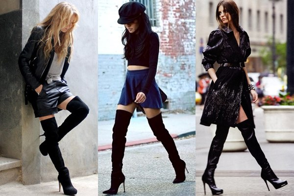 Black Suede Thigh High Boots Fashion Look