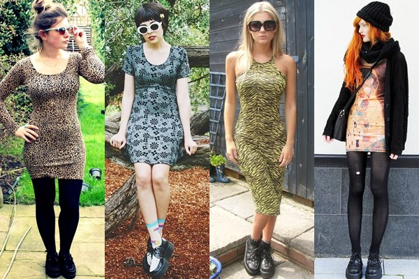 Street Style Fashion: Creeper Shoes with Bodycon Dress