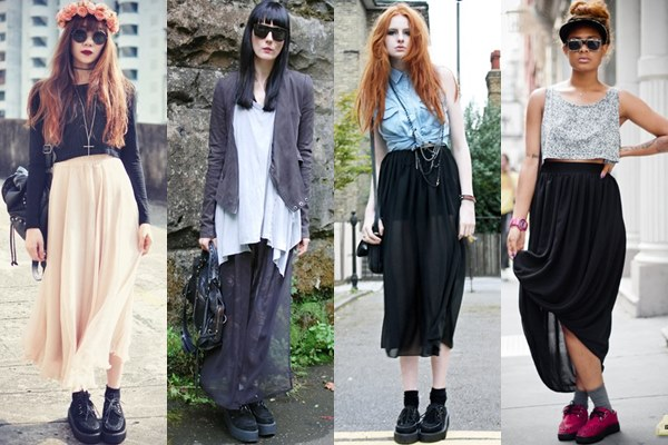 Street Style Fashion: Creeper Shoes with Long, Flowy Skirt