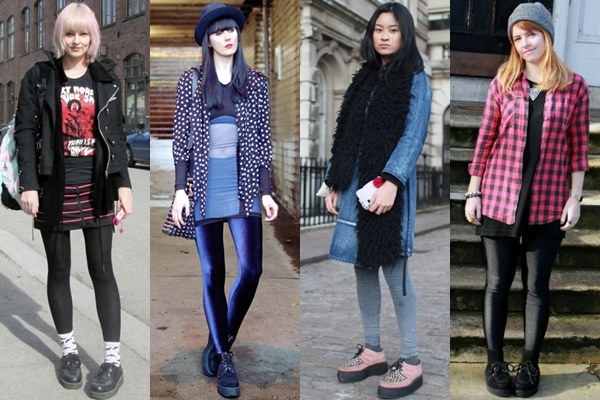 Street Style Fashion: Creeper Shoes with Leggings