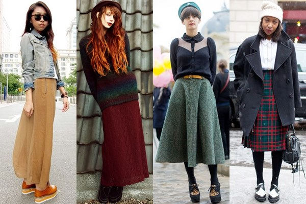 Street Style Fashion: Creeper Shoes with Long Skirt