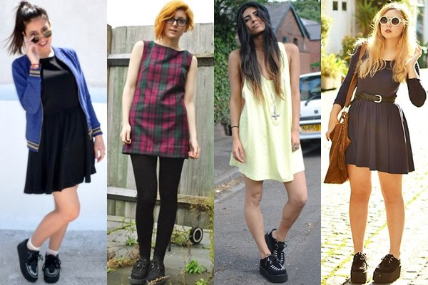 Street Style Fashion: Creeper Shoes with Mini Dress