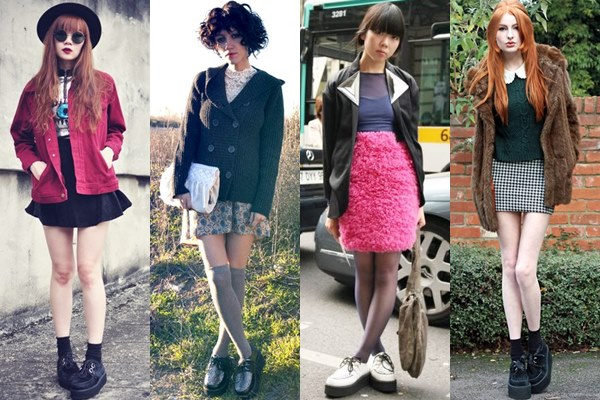 Street Style Fashion: Creeper Shoes with Mini Skirt