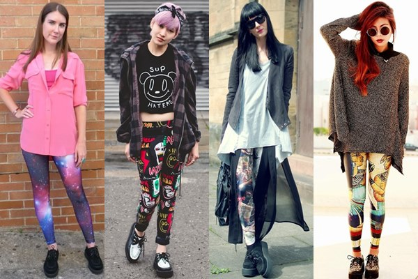 Street Style Fashion: Creeper Shoes with Printed Leggings