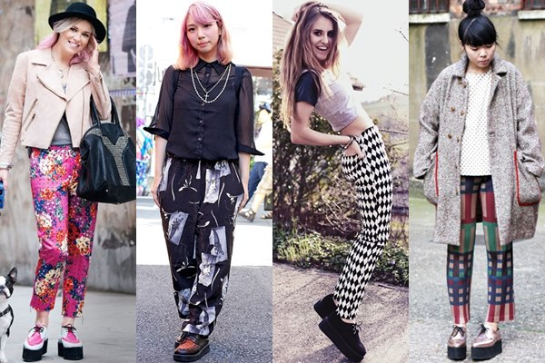 Street Style Fashion: Creeper Shoes with Printed Pants