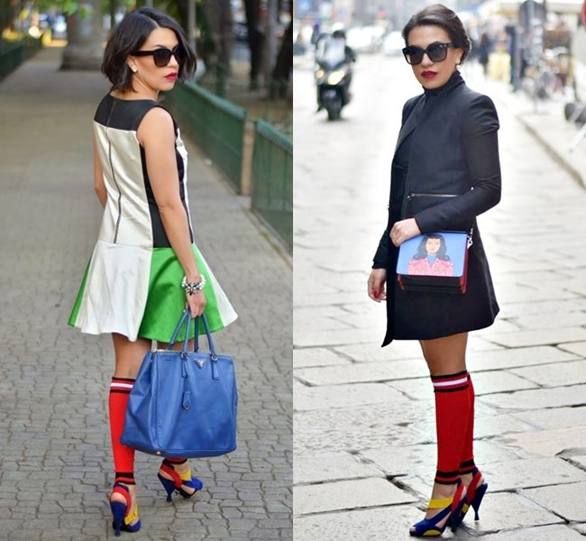 Vibrant Colored Knee Socks with Heeled Sandals