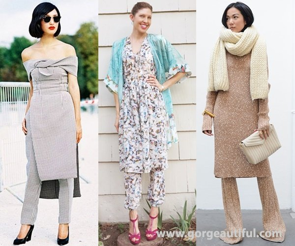 Dress Over Pants Street Style in Matching Set of Dress and Pants