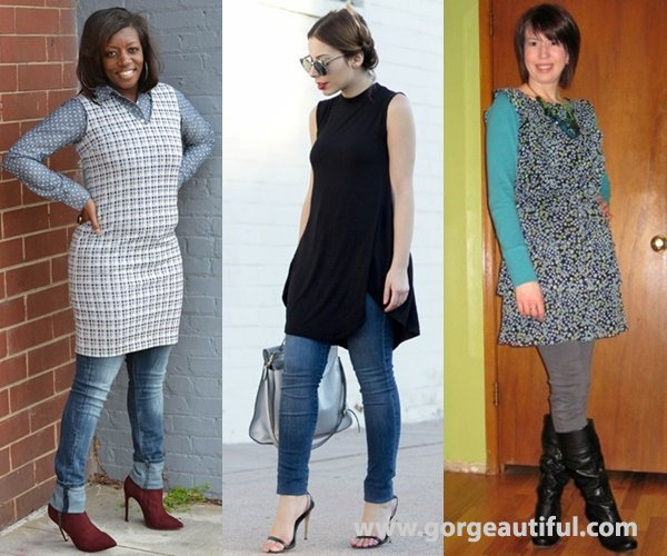 Dress Over Pants with Skinnies and Fit Dress for A Safe Balanced Look