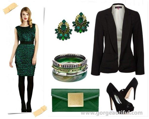 Fall Winter Green Wedding Guest Dress Idea