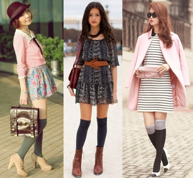 Neutral Colored Knee Socks with Heeled Sandals