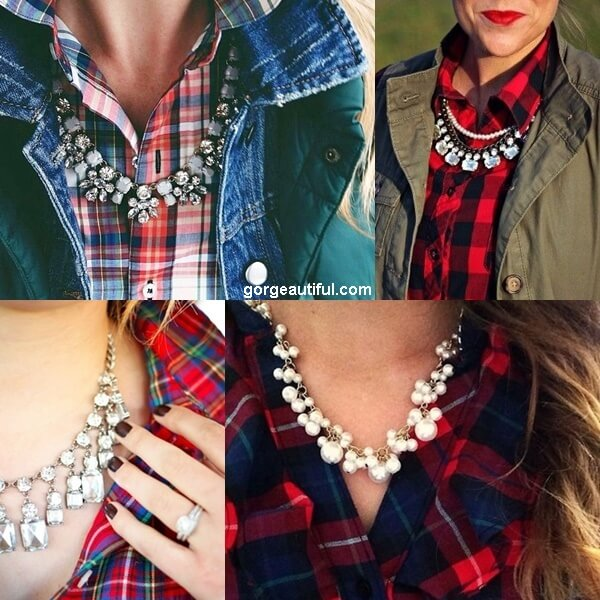 Dress Up Your Flannel Shirt with Statement Necklace