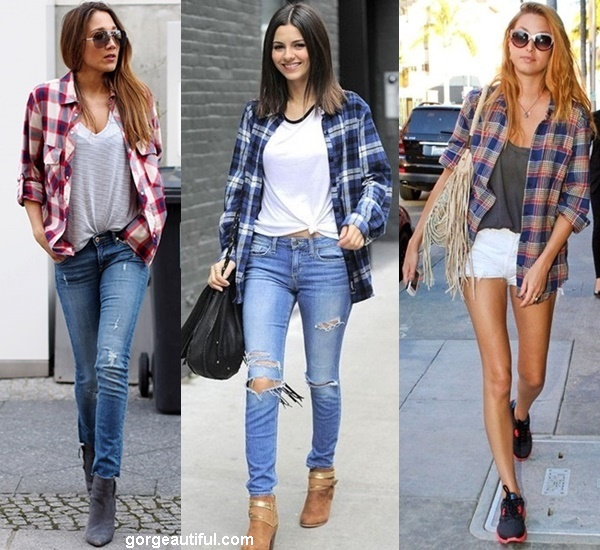 Plaid, Flannel Shirt Worn Open Over a Basic Tee