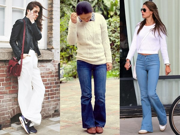 Flare Pants Fashion Look with Flat Shoes