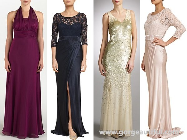 Shines and shimmers of sequined or satin dresses are also the best bet for a formal wedding reception