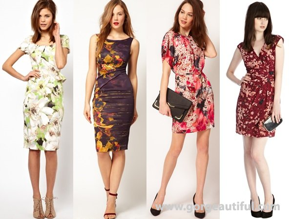 Moody floral prints wedding guest dresses