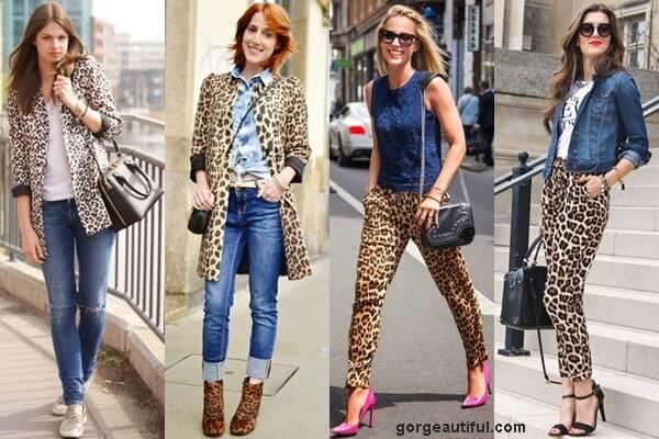 Leopard Print Coat and Pants paired with Denim