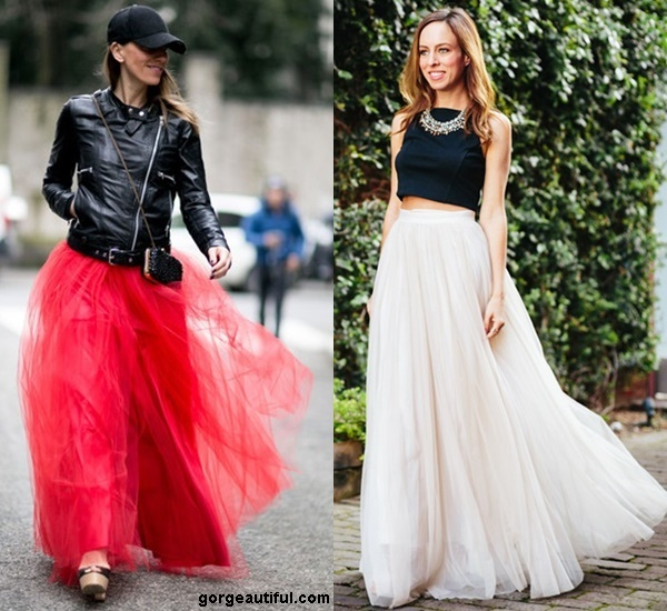 Toughen Up Your Maxi Tulle with Black and Leather Pieces