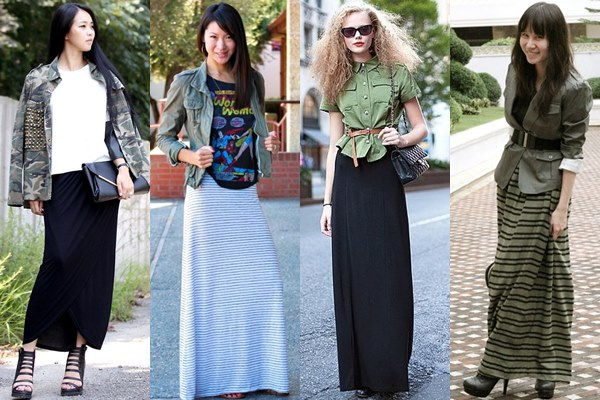 Maxi Skirt Military-inspired Style 2013 Street Fashion