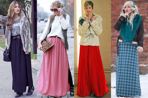 Maxi Skirt and Fur Elements Fall Winter 2013 Street Fashion