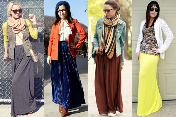 Maxi Skirt with Layers Fall Winter 2013 Street Fashion