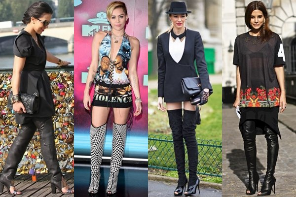 Open Toe Thigh High Boots Fashion Look