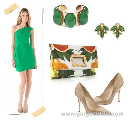 Spring Summer Green Wedding Guest Dress Idea