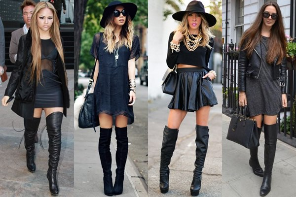 Thigh High Boots in Monochromatic Black