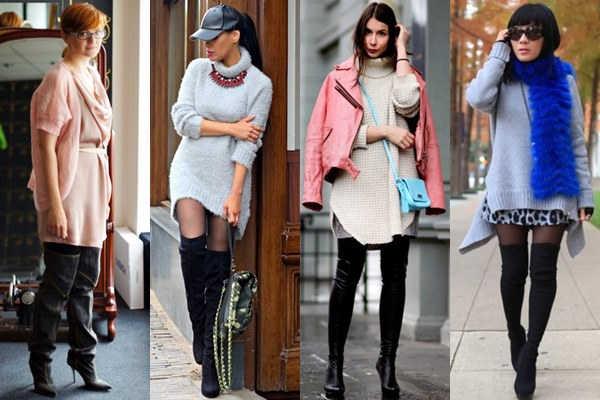 Thigh High Boots with Knit Tunic