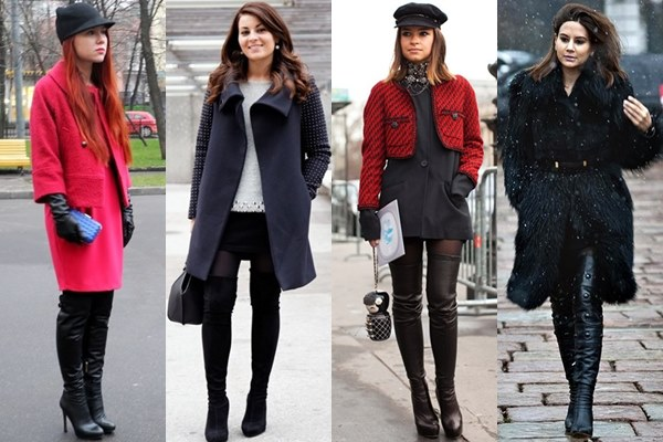 Thigh High Boots with Layers and Outerwear