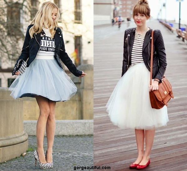 Make Your Tulle Skirt Edgy and Tough with Printed Tee and Biker Jacket