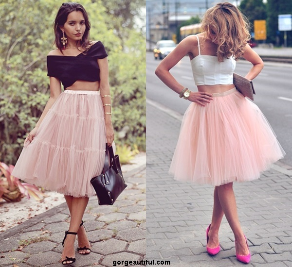 Still Looking Maturely Cute and Lovely with A Pair of Tulle Skirt and Crop Top