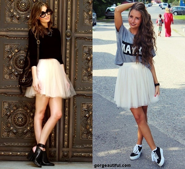Make Your Tulle Skirt Playful and Fun with Sneakers or Chunky Heels