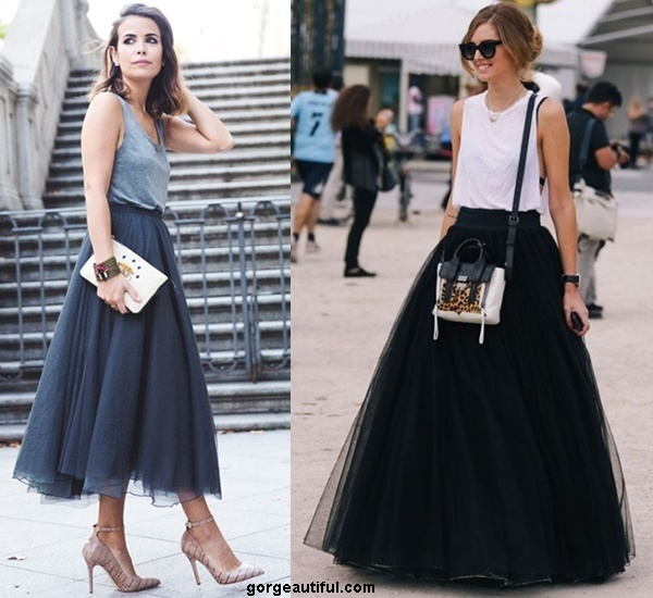 Maxi Tulle Skirt Looks Casually Trendy with A Loose Basic Tank Top